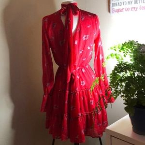 Xhilaration red floral long bell sleeve tier dress